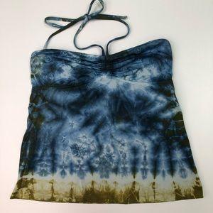 Lucky Brand Hippie Tankini Bikini Top Tie Dye